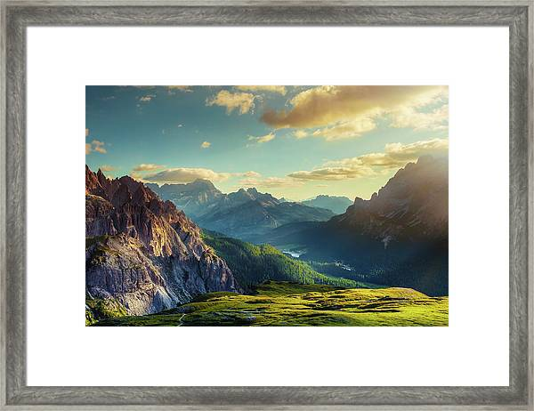 Mountains And Valley At Sunset Framed Print