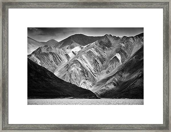 Framed Print featuring the photograph Mountains At Pangong by Whitney Goodey