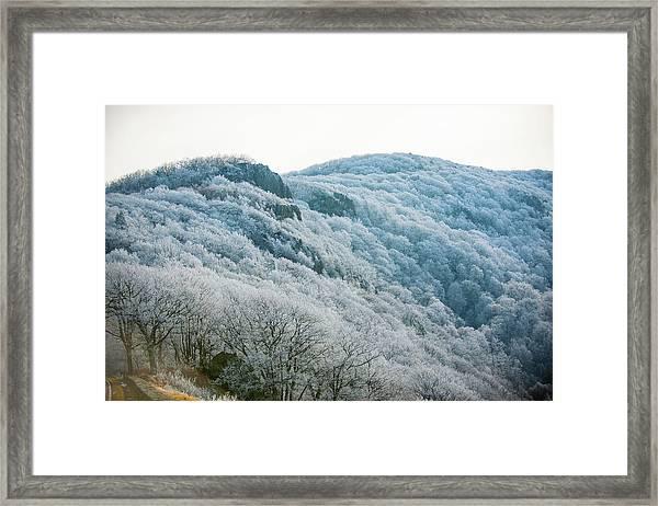 Mountainside Hoarfrost Framed Print