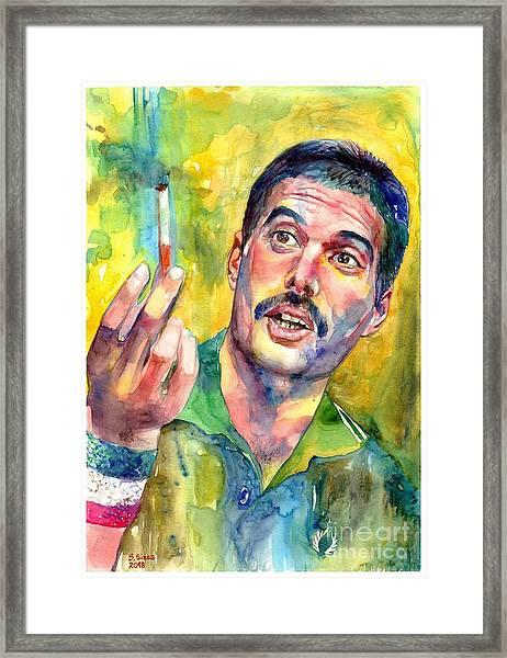 Mr Bad Guy - Freddie Mercury Portrait Framed Print