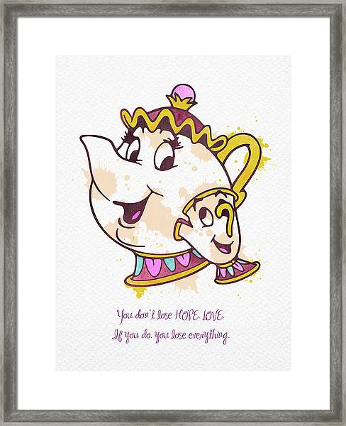 Mrs Potts And Chip Watercolor Framed Print