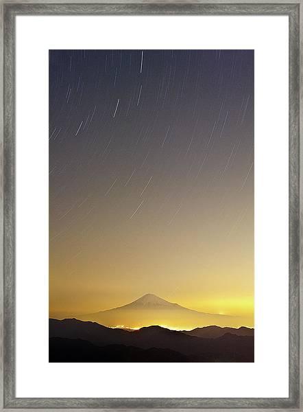 Mt. Fuji And Star Trails Framed Print