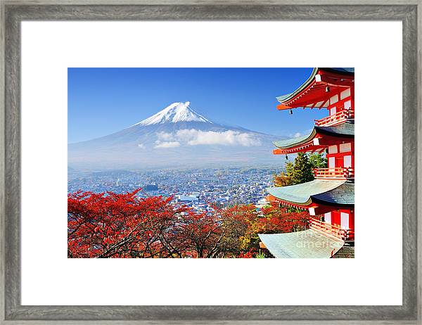 Mt. Fuji With Fall Colors In Japan Framed Print