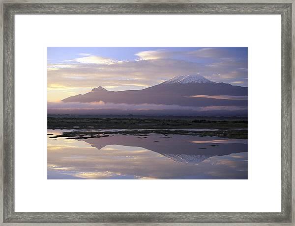 Mt.kilimanjaro Sunrise Amboseli Kenya Framed Print by Stan Osolinski