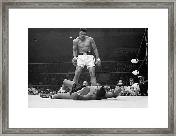 Muhammad Ali Taunting Sonny Liston Framed Print