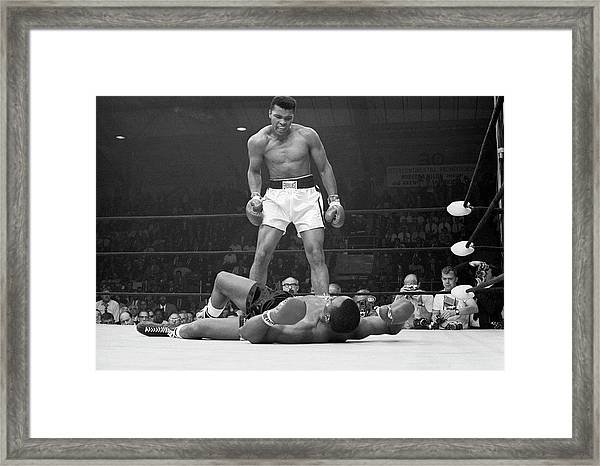 Muhammad Ali Taunting Sonny Liston Framed Print by Bettmann