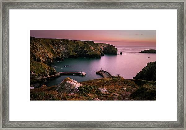 Mullion Cove Sunset - Cornwall General View Framed Print