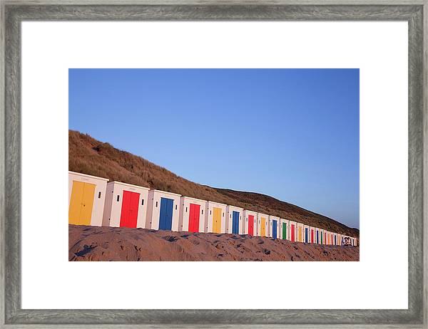 Multi-coloured Beach Huts On Woolacombe Framed Print