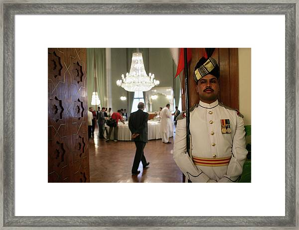 Musharraf Gives First Press Conference Framed Print by John Moore
