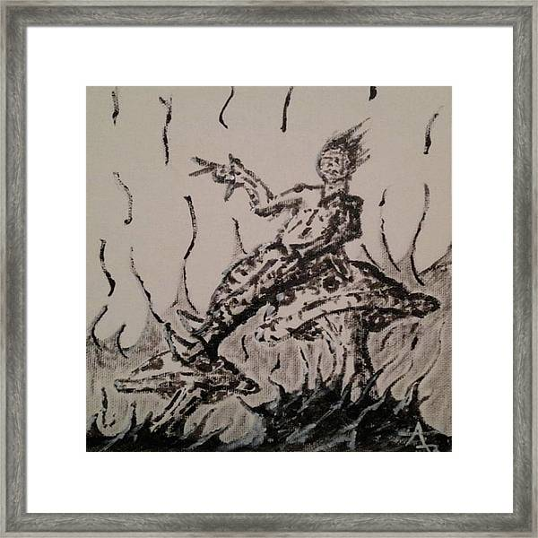 Framed Print featuring the painting Mushroom Man by Aaron Bombalicki