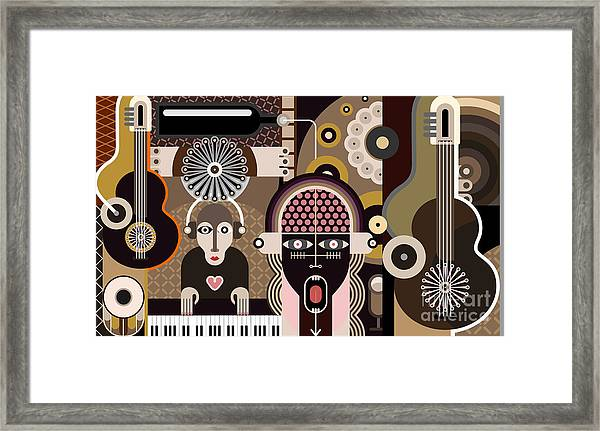 Music Background - Abstract Vector Framed Print