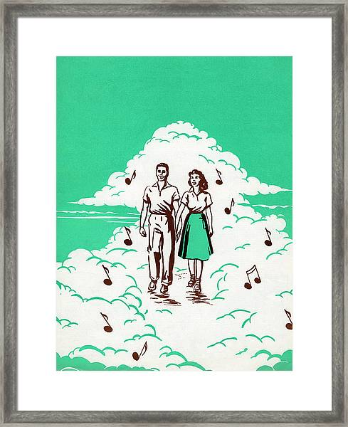Musical Couple In The Clouds Framed Print
