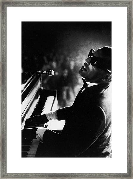 Musician Ray Charles Playing Piano In Framed Print by Bill Ray