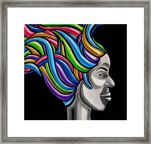 Colorful Abstract Black Woman Face Hair Painting Artwork - African Goddess Framed Print