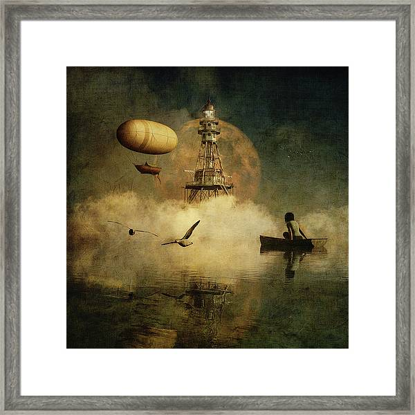 Framed Print featuring the digital art My Dream About The Lighthouse by Jan Keteleer
