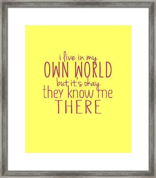 My Own World Framed Print