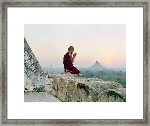 Myanmar, Bagan, Buddhist Monk Praying Framed Print