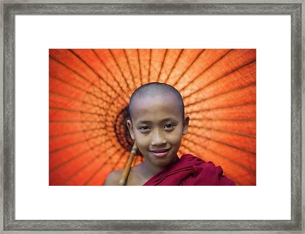 Myanmar, Bagan, Buddhist Young Monk Framed Print
