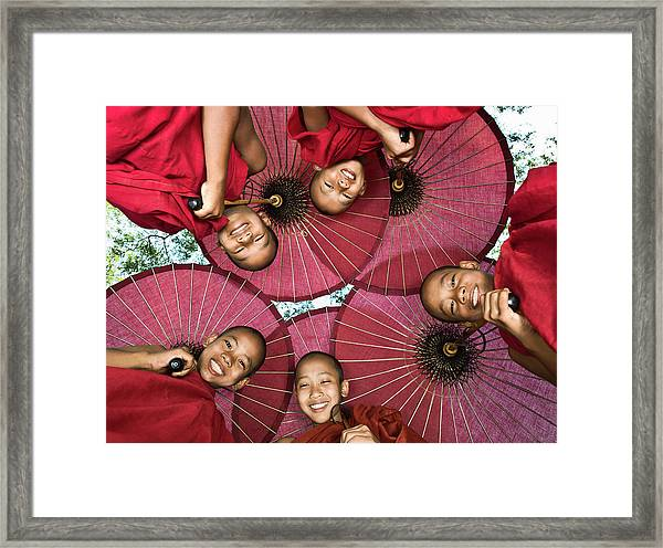 Myanmar, Bagan, Young Buddhist Monks Framed Print