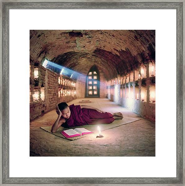 Myanmar, Buddhist Monk Inside Framed Print