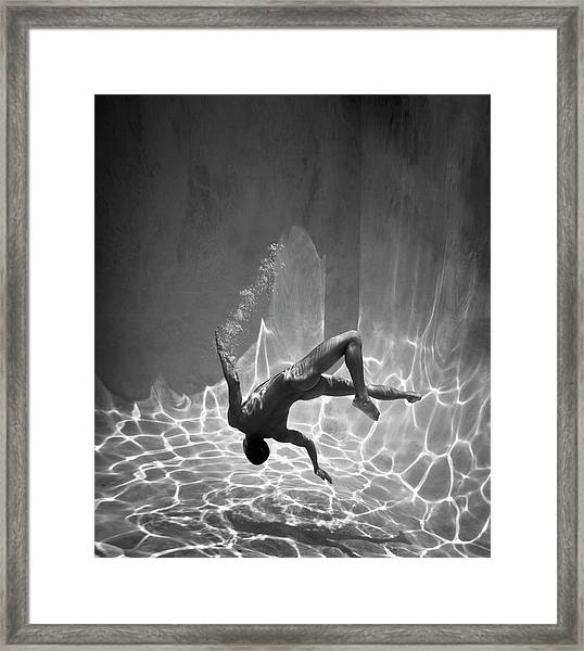 Naked Man Underwater Framed Print