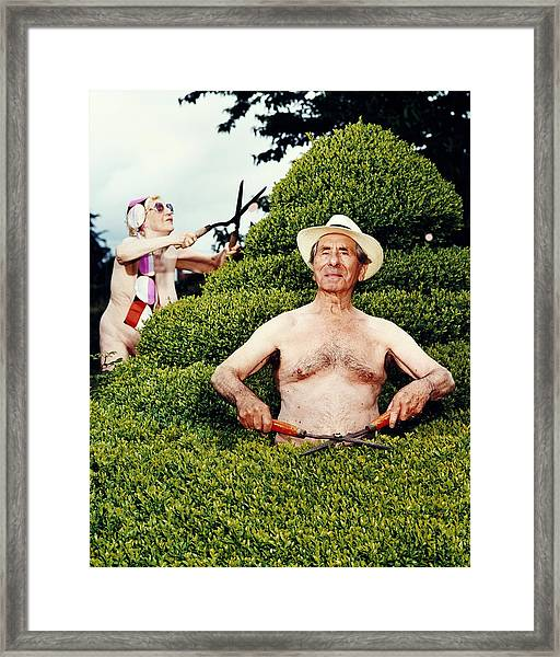 Naked Mature Couple Trimming Hedge, Man Framed Print by Chris Craymer