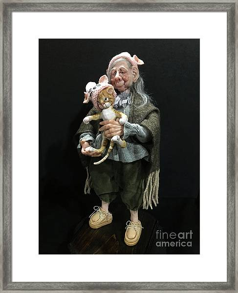Nana And The Crabby Tabby Framed Print