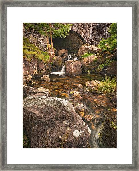 Framed Print featuring the photograph Nant Gaws Waterfall And Old Stone Bridge by Elliott Coleman
