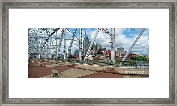 Nashville Cityscape From The Bridge Framed Print
