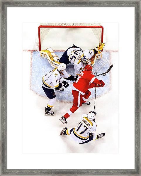 Nashville Predators V Detroit Red Wings Framed Print by Gregory Shamus