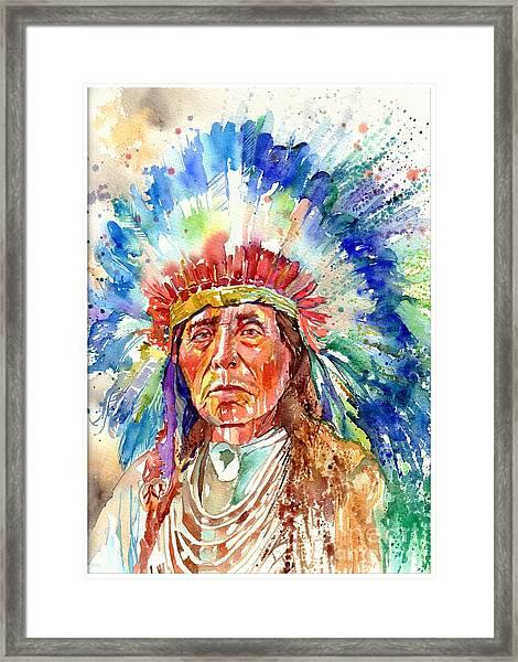 Native American Chief Framed Print