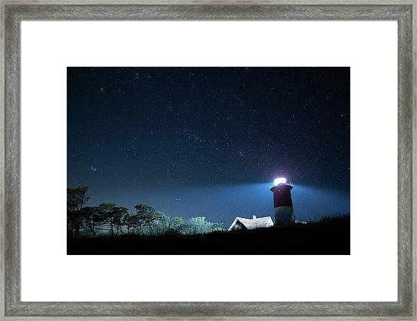 Nauset Light Under The Stars Framed Print