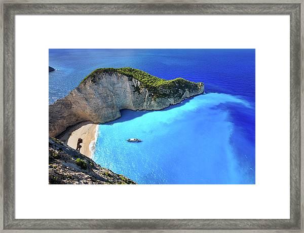 Navagio Beach, Zakynthos Island, Greece Framed Print by Rusm