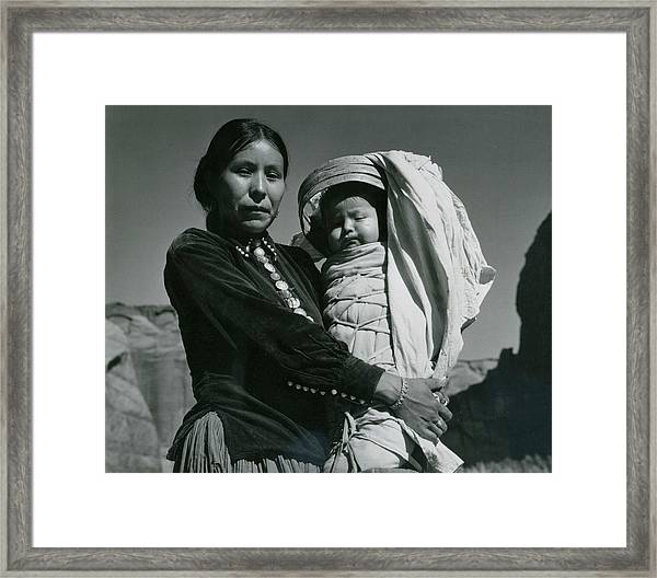 Navajo Woman And Infant, Canyon De Framed Print
