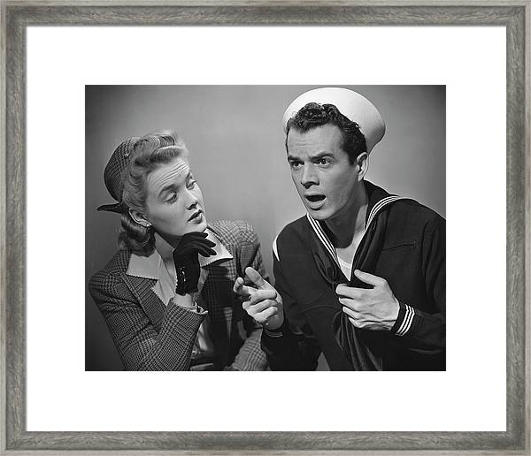 Navy Couple Framed Print by George Marks