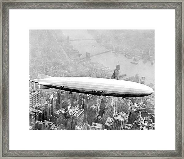 Navy Dirigible Los Angeles Flying Over Framed Print