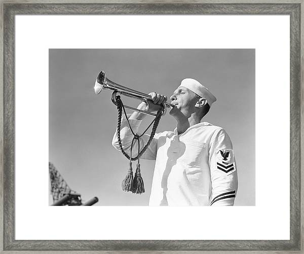 Navy Uniform Wearing White Uniform Framed Print by H. Armstrong Roberts