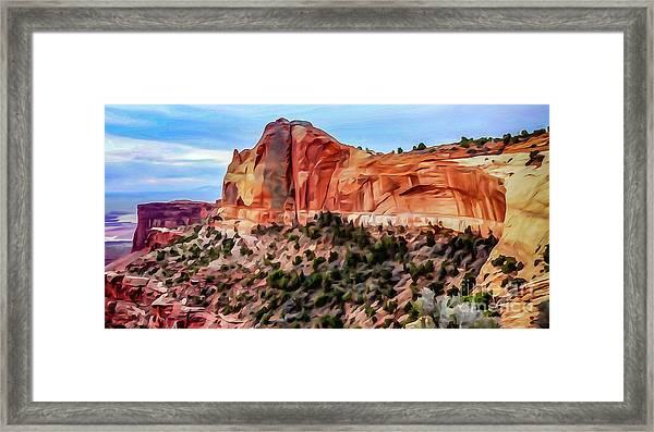 Neighboring Mesa Arch - Photopainting Framed Print by Bob Lentz