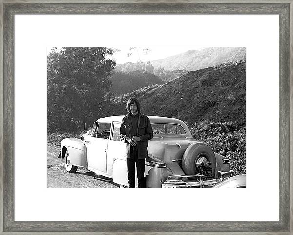 Neil Young And His Classic Car Framed Print