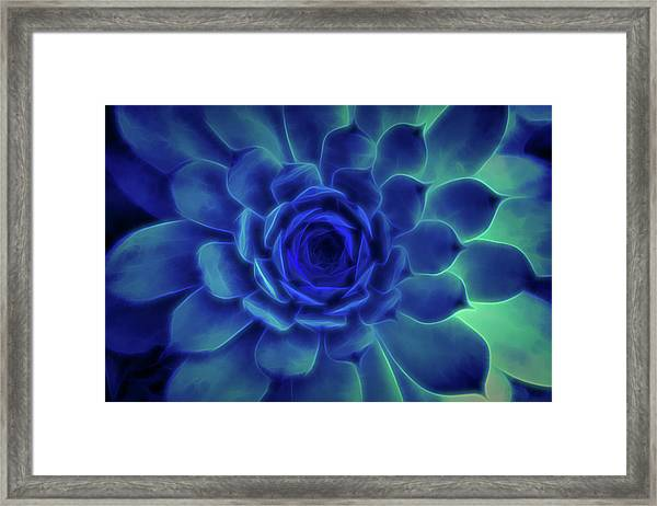 Framed Print featuring the digital art Neon Blue Sempervivum by Scott Lyons