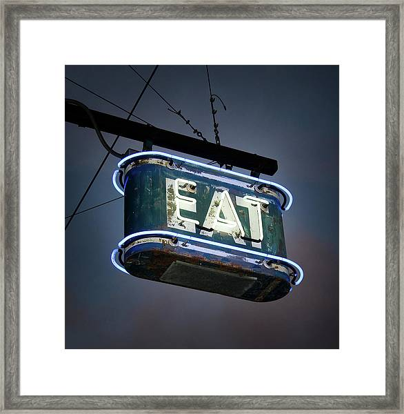 Neon Eat Sign Framed Print