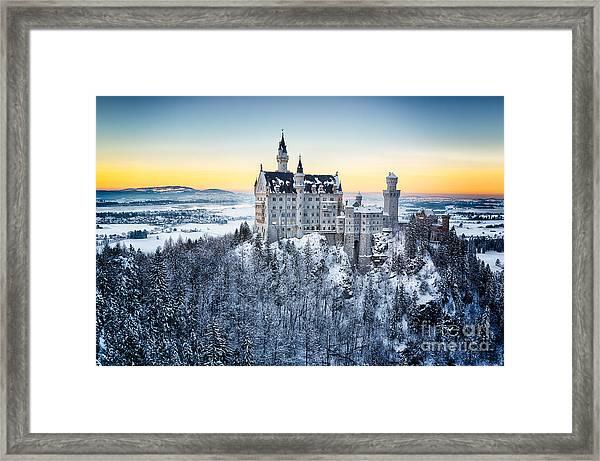 Neuschwanstein Castle At Sunset In Framed Print by Frank Fischbach