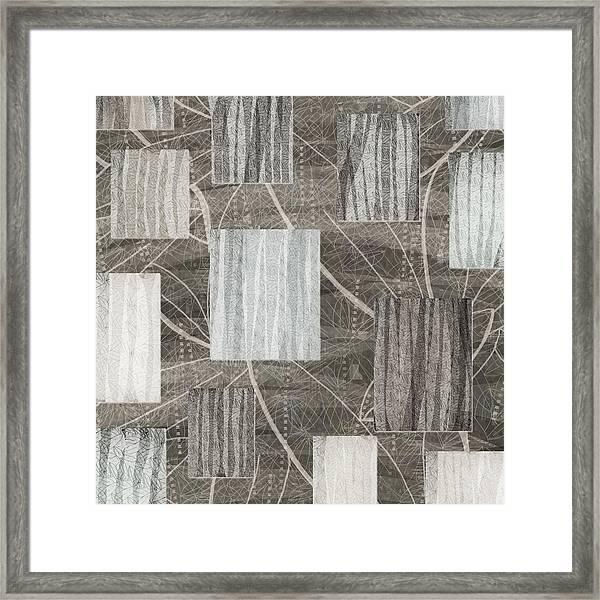 Neutral Leaf Print Squares Cream Framed Print