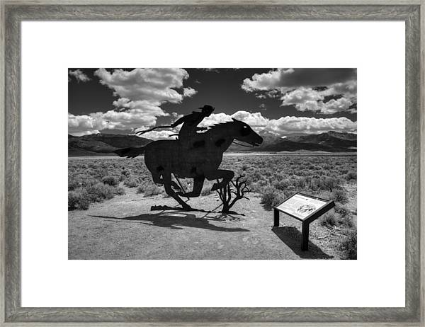Nevada - Pony Express Monument 001 Bw Framed Print by Lance Vaughn