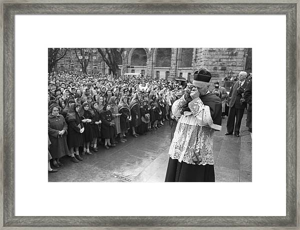 New Basilica Blessing At Lourdes In 1958 Framed Print