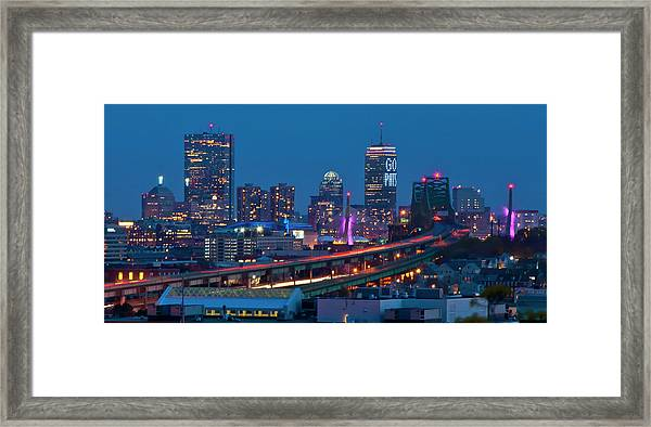 New England Patriots - Boston Skyline Framed Print