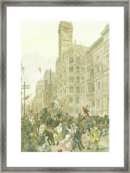 New Years Mummers On Chestnut Street Framed Print