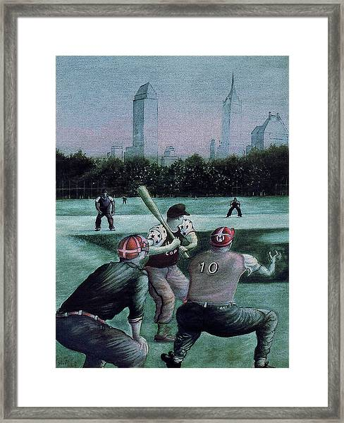 New York Central Park Baseball - Watercolor Art Painting Framed Print