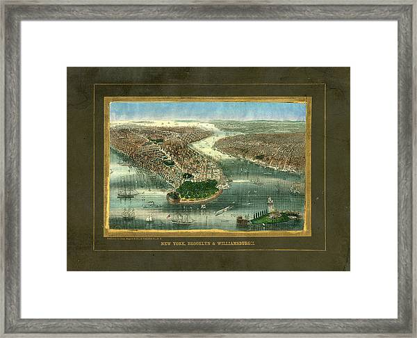 New York City 1850 To 1899 Birds Eye Framed Print