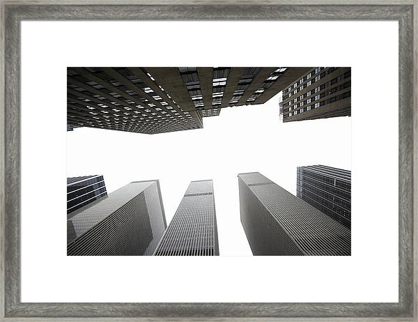 New York City Buildings, Looking Up Framed Print
